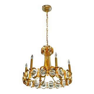 Palwa Gilt Brass and Optic Lens Crystal Chandelier For Sale