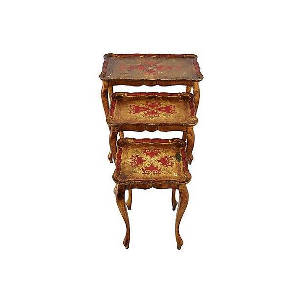 1950s Italian Venetian Florentine Nesting Tables - Set of Three For Sale - Image 10 of 13