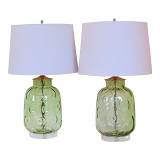 Pair of Retro Inspired Green Circle Motif Lamps by C. Damien Fox, a Pair. For Sale