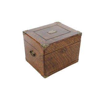 Antique Oak Box With Brass Hardware For Sale