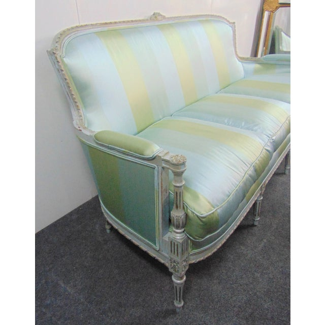 Silk Louis XVI Hand Carved Blue Painted Silk Sofa For Sale - Image 7 of 11
