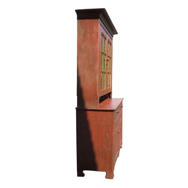 Wood American Red Painted Two Part Cupboard For Sale - Image 7 of 10