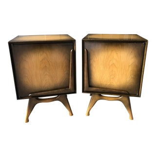 Mid Century Modern Retro Atomic Nightstands Side Tables Record Storage Bedroom Set For Sale