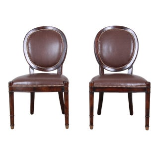 Baker Furniture Milling Road Collection Studded Leather Balloon Back Side Chairs - a Pair For Sale