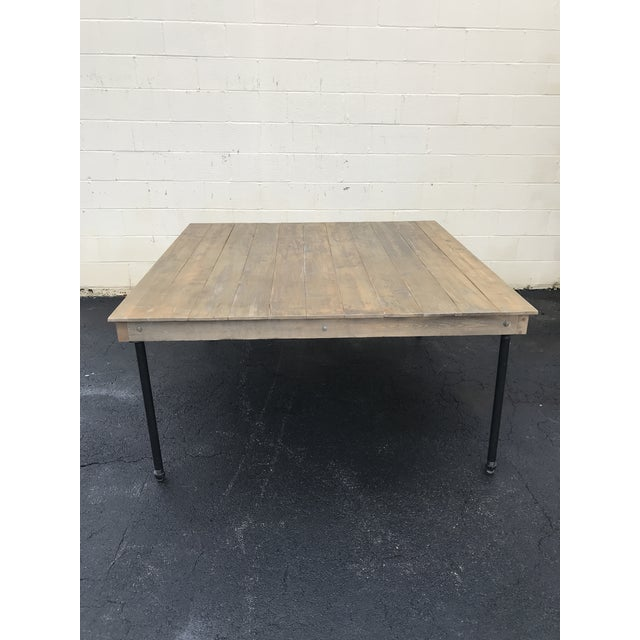 Rustic Dove Gray Wood Square Farm Table For Sale - Image 9 of 11