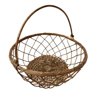 1970s Boho Chic Woven Brass Basket For Sale