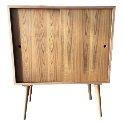 Mid-Century-Style Teak Record Cabinet For Sale
