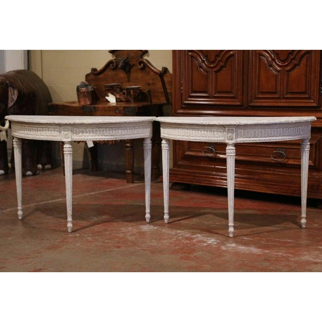 19th Century French Louis XVI Carved Painted Demilune Console Tables-a Pair For Sale - Image 4 of 11