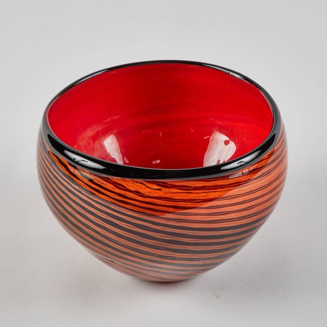 1950s mid-century English red studio glass bowl with black hand painted stripes.