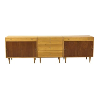 Trio of Mid Century Birch Cabinets for Workbench For Sale