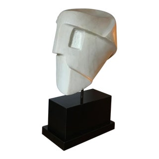 Marble Cubist Head on Black Lucite Base