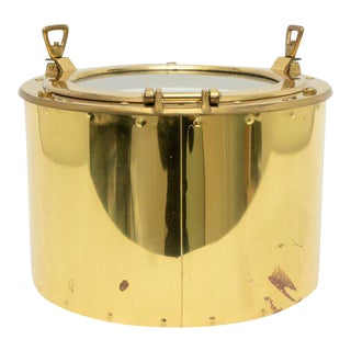 1970s Nautical Port-Hole Brass Ice Bucket For Sale