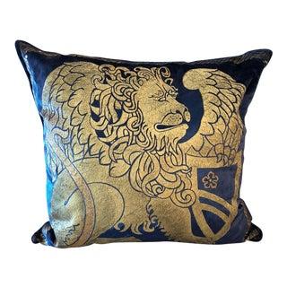 Venetian Velvet and Gold Lion Motif Pillow For Sale