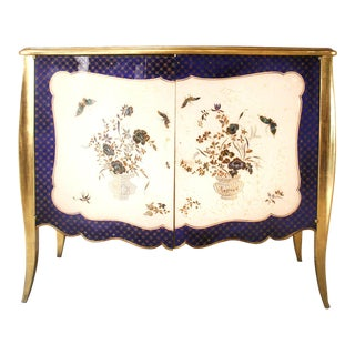 1940s French Louis XV Style Parcel-Gilt and Églomisé Commode For Sale