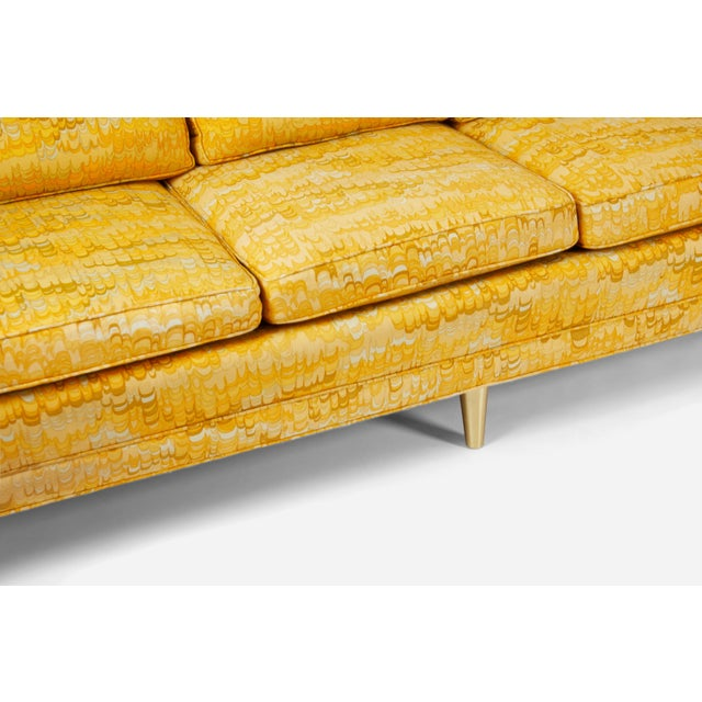 Mid-Century Modern Jack Lenor Larsen 5 Seat Sofa on Brass Legs For Sale - Image 3 of 7
