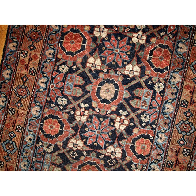 Antique Handmade Persian Hamadan Runner - 3' X 13' For Sale - Image 4 of 6