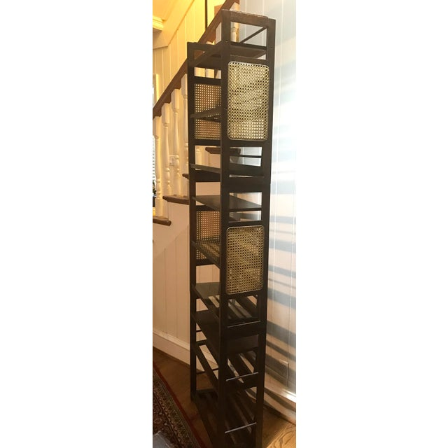 Wood 3 Tier Cane and Wood Shelving Unit For Sale - Image 7 of 13