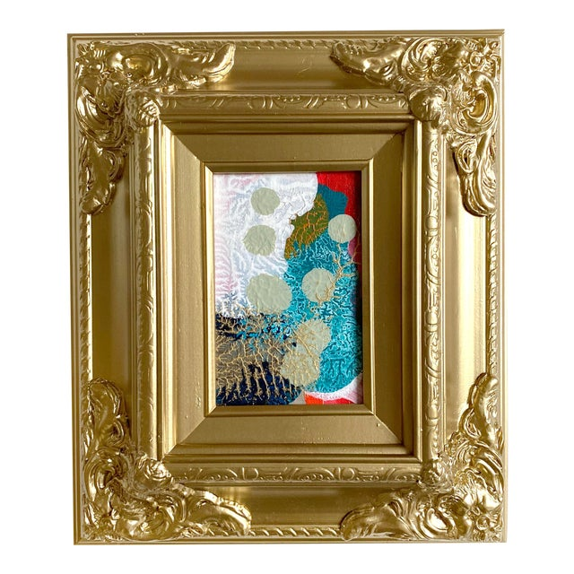 Sage Dots Mini Painting With Ornate Gold Frame For Sale