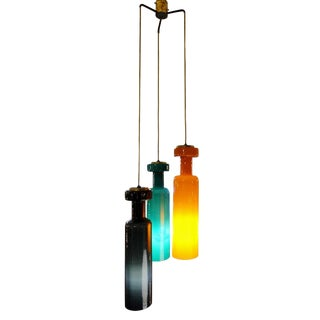 Stilnovo Three Color Murano Glass Ceiling Pendant Lamp For Sale
