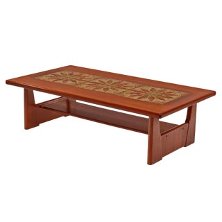 Danish Teak Stone Tile Leaf Motif Coffee Table by Brdr Furbo For Sale