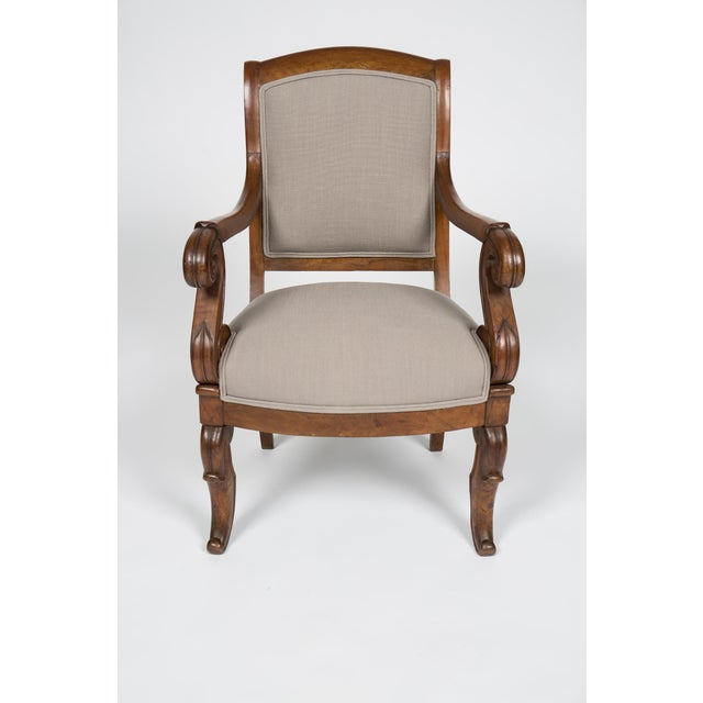 French Solid Walnut Pair French Restauration Armchairs For Sale - Image 3 of 10