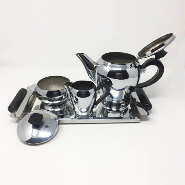 Art Deco Antique 1930s Art Deco French Chrome Tea Set - Set of 4 For Sale - Image 3 of 5
