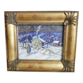 Christopher Willett, Oil on Masonite of a Snowy Evening For Sale