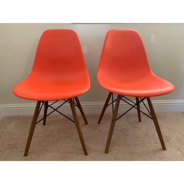 Eames Molded Plastic Dowel-Leg Side Chairs - a Pair For Sale In San Francisco - Image 6 of 6