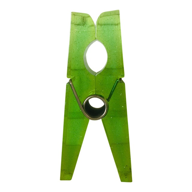 Lime Green Giant Lucite Clothespin For Sale