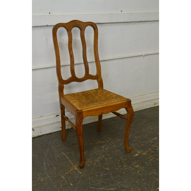 French Country Style Antique Oak Rush Seat Dining Chairs - Set of 6 For Sale - Image 9 of 13