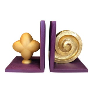 Italian Purple Leather Bookends,Pair For Sale