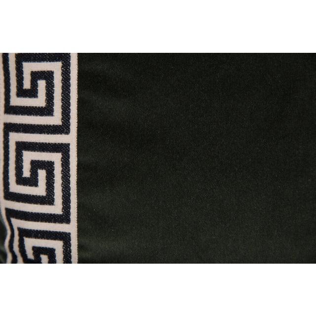Moss Velvet Greek Key Pillows - a Pair - Image 4 of 5