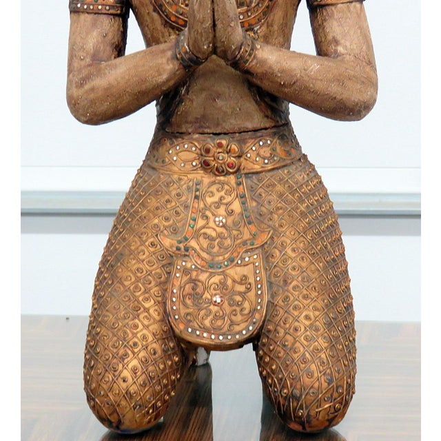 Early 20th century Carved wooden Tibetan goddess statue.