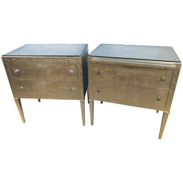 Pair of Silver Gilt Commodes Chest of Drawers or Nightstands Mid-Century Modern For Sale - Image 12 of 12