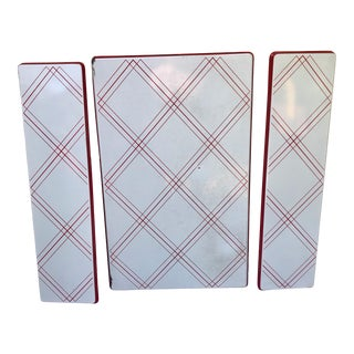 1930's Art Deco Style Red & White Enamel Porcelain Kitchen Table Top with Extensions - 3 Pieces For Sale