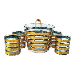 Midcentury Gold-Banded Glass Set, 6 Pcs For Sale