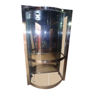 Contemporary Glass and Chrome Display Cabinet For Sale