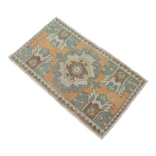Distressed Low Pile Turkish Yastik Petite Rug Hand Knotted Faded Mat - 18'' X 31'' For Sale