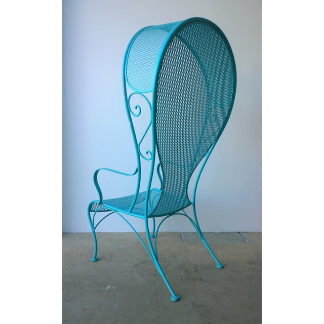 French Mid-Century Modern Russell Woodard Blue Canopy Patio Chair For Sale - Image 3 of 10