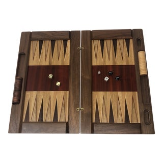 Large Red and Brown Vintage Style Wood Inlaid Backgammon Game Board For Sale