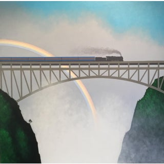Lynn Curlee The Blue Train at Victoria Falls Original Painting For Sale
