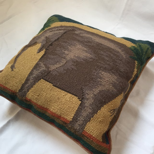 Needlepoint Elephant Accent Pillow - Image 3 of 7
