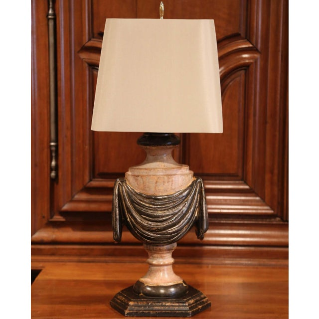 Pair of Italian Carved Lamp Bases With Polychrome Antique Painted Finish For Sale - Image 9 of 12