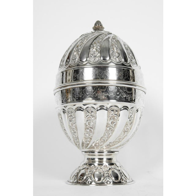 Old Sheffield collection silver plate / copper egg shape form liquor cave with exterior design details. Set include...
