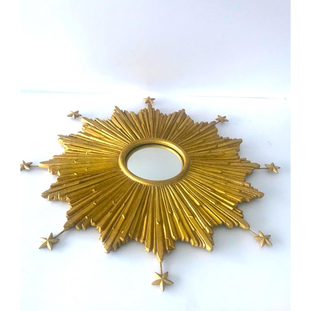 Exquisite Starburst Mirror With Antique Gold Leaf Finish For Sale - Image 4 of 13