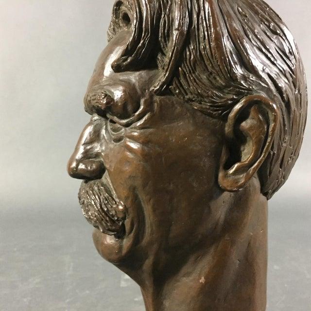 Metal Bronze Sculpture of Nobel Winner Albert Schweitzer, 1955 For Sale - Image 7 of 10