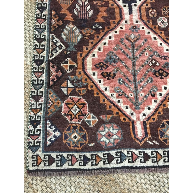 1970s 1970s Vintage Shiraz Brown and Rose Pink Rug - 3′8″ × 7′6″ For Sale - Image 5 of 9