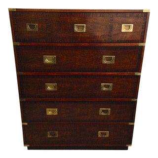 Drexel 5 Drawer Campaign Highboy Dresser