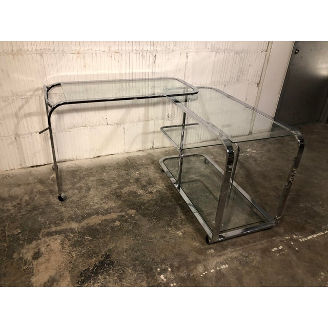 Design Institute of America Chrome Bar Cart For Sale - Image 6 of 8