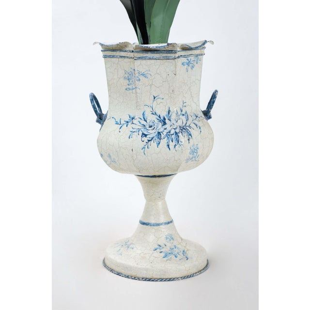 Mid 20th Century Blue & White Tole Trophy Shaped Lamp With Faux Flower For Sale - Image 5 of 6